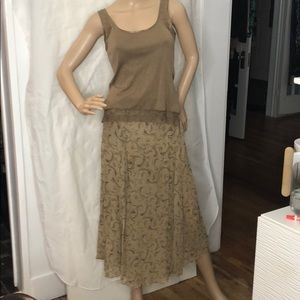Beautiful vintage Hippie silk skirt & tank Banana